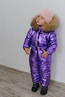 Детский зимний слитный комбинезон с мехом на капюшоне