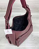 Женская бордовая сумка-рюкзак 59307 трансформер на плечо, фото 7