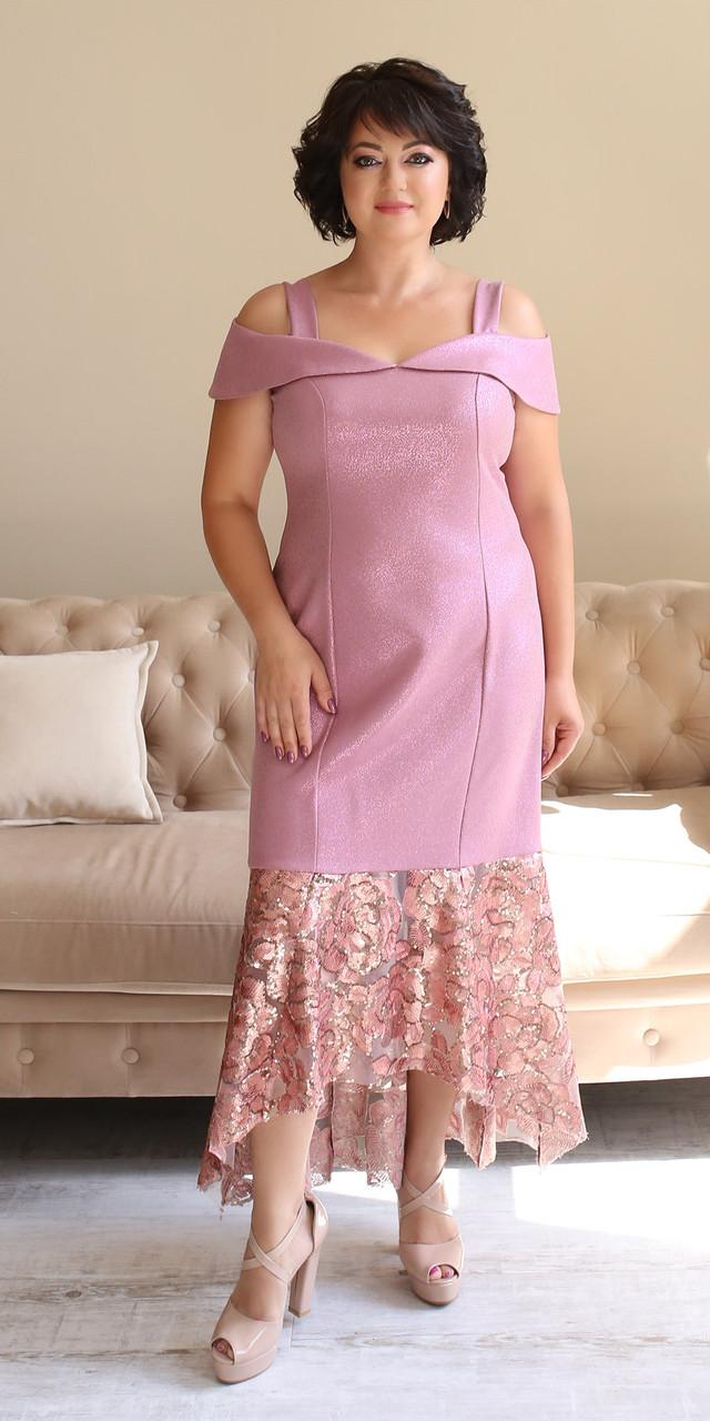 Молодежное розовое платье больших размеров со шлейфом 50,52,54,56