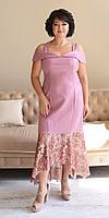 Молодежное розовое платье больших размеров со шлейфом 50,52,54,56, фото 1