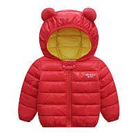 Детская куртка для девочки красная с блестящая р.110,120 см