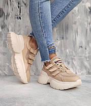 Крутые бежевые кроссовки на бежевой подошве с бежевыми вставками 36-40, фото 2