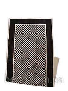 Вузький бавовняний килимок для ванної 70х150  см. чорного кольору. Турція