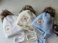 Шапка для мальчика с мишкой для новорожденного Размер 36-38 см, фото 3