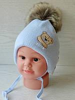Шапка для мальчика с мишкой для новорожденного Размер 36-38 см, фото 2