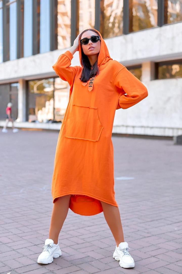 """Трикотажное асимметричное платье """"DIESEL"""" с капюшоном и карманом-кенгуру"""