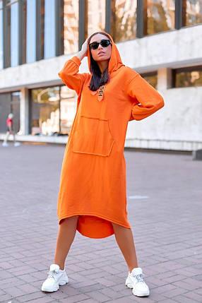 """Трикотажное асимметричное платье """"DIESEL"""" с капюшоном и карманом-кенгуру, фото 2"""