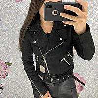 Женская замшевая куртка косуха черная S, фото 1