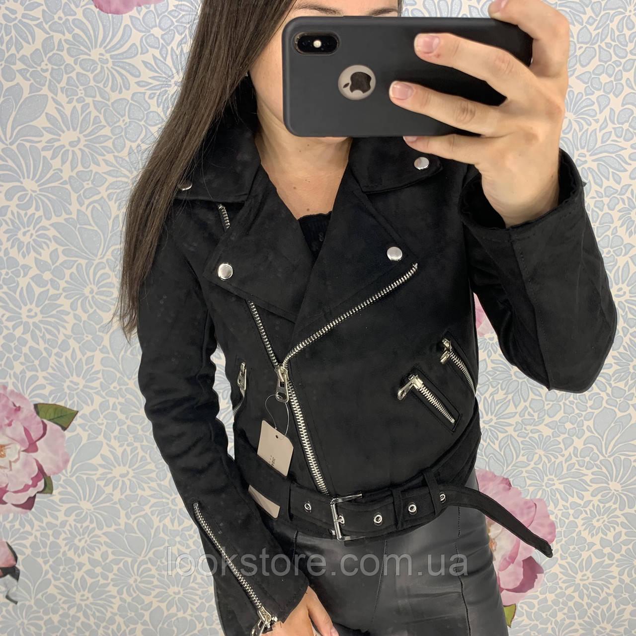 Женская замшевая куртка косуха черная S