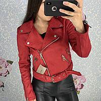 Женская замшевая куртка косуха красная, фото 1