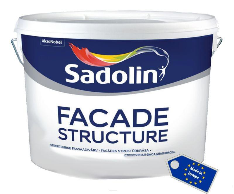 Быстросохнущая структурная краска на водной основе для наружных работ FACADE STRUCTURE Sadolin, 10 л