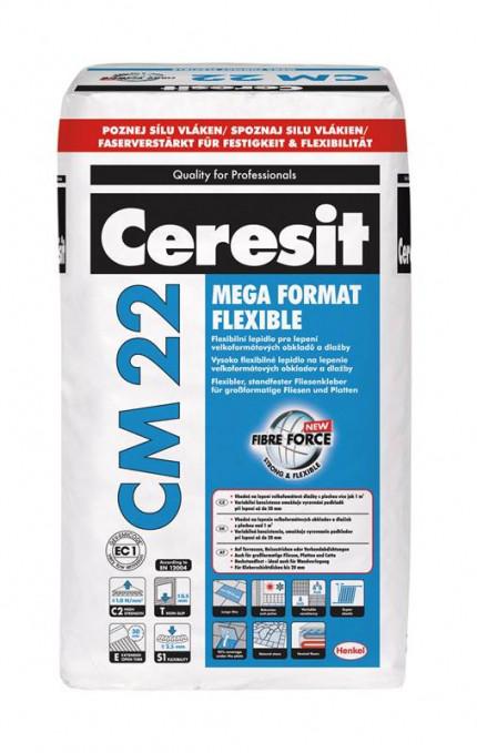 Высокоэластичная клей смесь для плитки большого формата Сeresit CM 22 MEGA FORMAT FLEXIBLE, 25 кг.