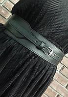 """Женский широкий пояс из натуральной кожи """"Serpente"""" черный, фото 1"""
