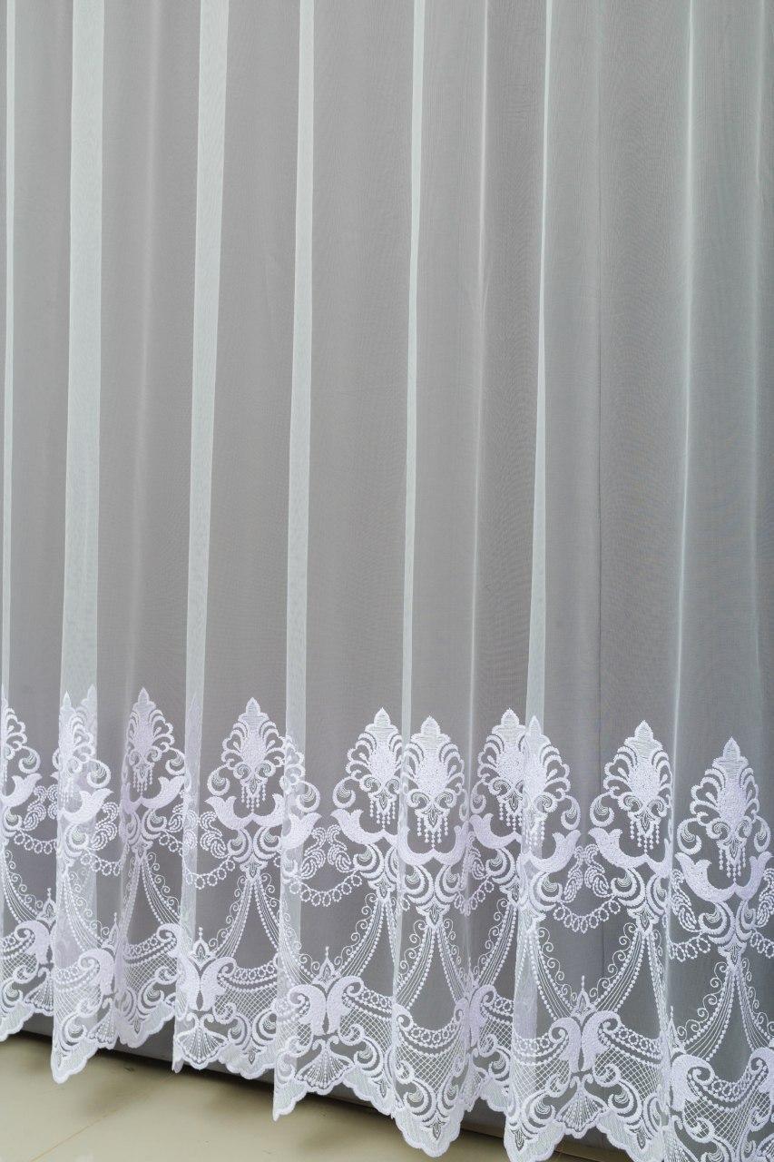 Готовая турецкая тюль фатин на окна цвет белый  (обработка сторон + 40 грн