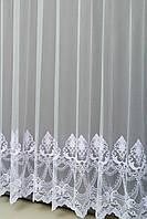 Готовая турецкая тюль фатин на окна цвет белый  (обработка сторон + 40 грн, фото 1