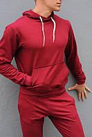 Бордовая худи унисекс с капюшоном - весна-осень, фото 1