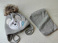 Комплект для мальчика Мишка  (шапка+шарф ) Размер 40-42 см, фото 2