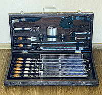 Подарочный набор для барбекю в деревянном кейсе, набор шампуров