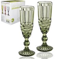Набор цветных бокалов для шампанского Винтаж Изумруд 180мл 6шт
