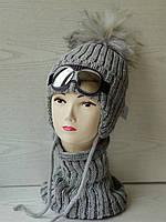 Комплект для мальчика с очками на завязках (шапка+хомут ) Размер 50-54 см, фото 6
