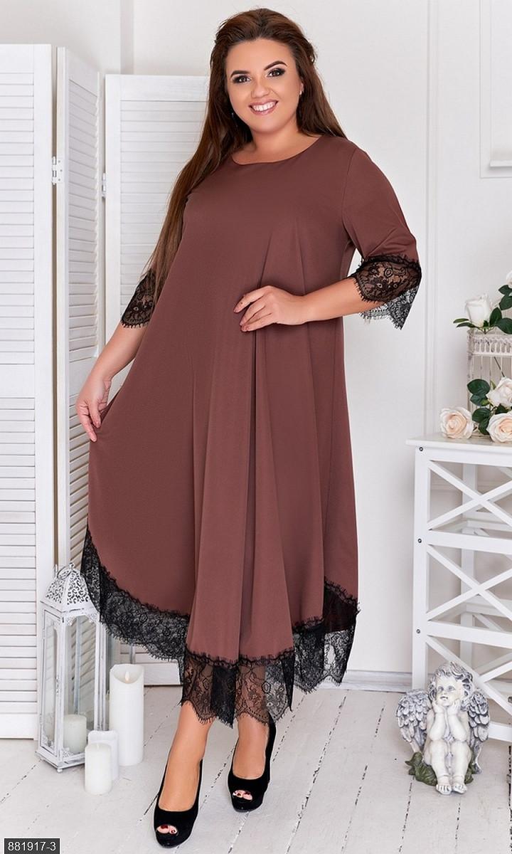 Сукня коричневий Осінь Україна 48 великого розміру 881917-3