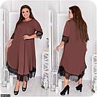 Сукня коричневий Осінь Україна 48 великого розміру 881917-3, фото 3