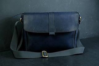 """Чоловіча сумка """"Модель №53"""" Шкіра Італійський краст колір Синій, фото 3"""