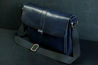 """Чоловіча сумка """"Модель №53"""" Шкіра Італійський краст колір Синій, фото 2"""