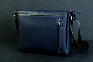 """Мужская сумка """"Модель №53"""" Кожа Итальянский краст цвет Синий, фото 2"""