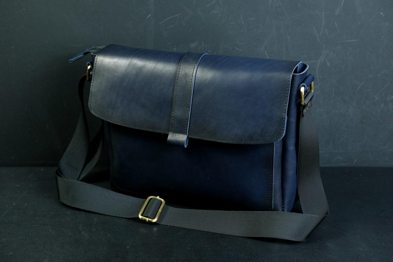 """Чоловіча сумка """"Модель №53"""" Шкіра Італійський краст колір Синій"""