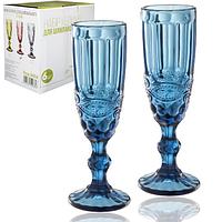 Набор цветных бокалов для шампанского Винтаж Кобальт 180мл 6шт