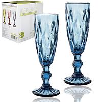 Набор цветных бокалов для шампанского Грани Кобальт 200мл 6шт