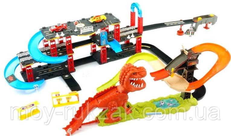 """Игровой трек для машинок """"Динозавр Рекс в городе"""", звуковые эффекты, 120*75*25 см, 8899-93"""