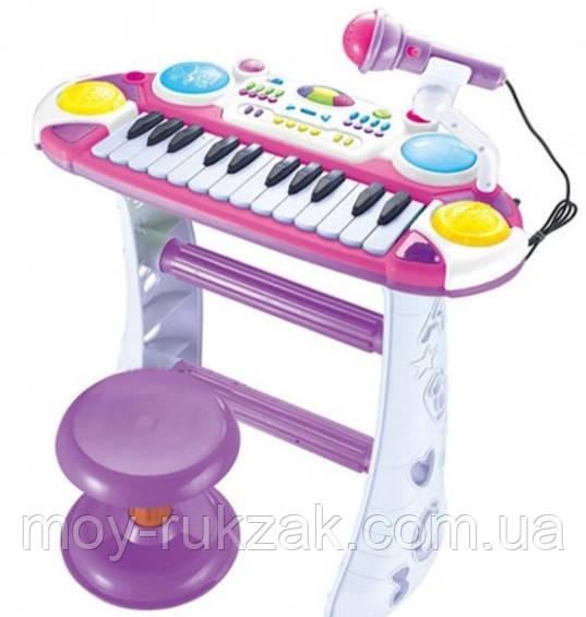 Детский игровой синтезатор на ножках со стульчиком, Joy Toy, 7235, розовый