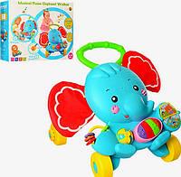 Детская каталка-ходунки Слоник, интерактивные, музыкальные, с игровой панелью 50*50*45 см, S919