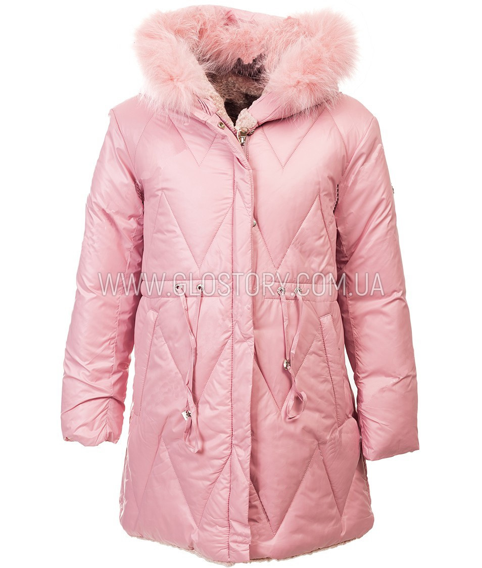 Зимняя длинная двухсторонняя куртка для девочки розовая