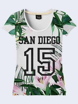 Женская футболка с принтом Сан Диего 15