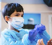 Детские медицинские маски с фиксатором для носа, голубые (100 шт)