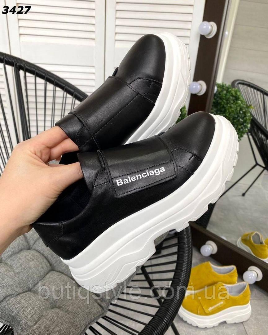 Женские черные кроссовки натуральная кожа на липучке