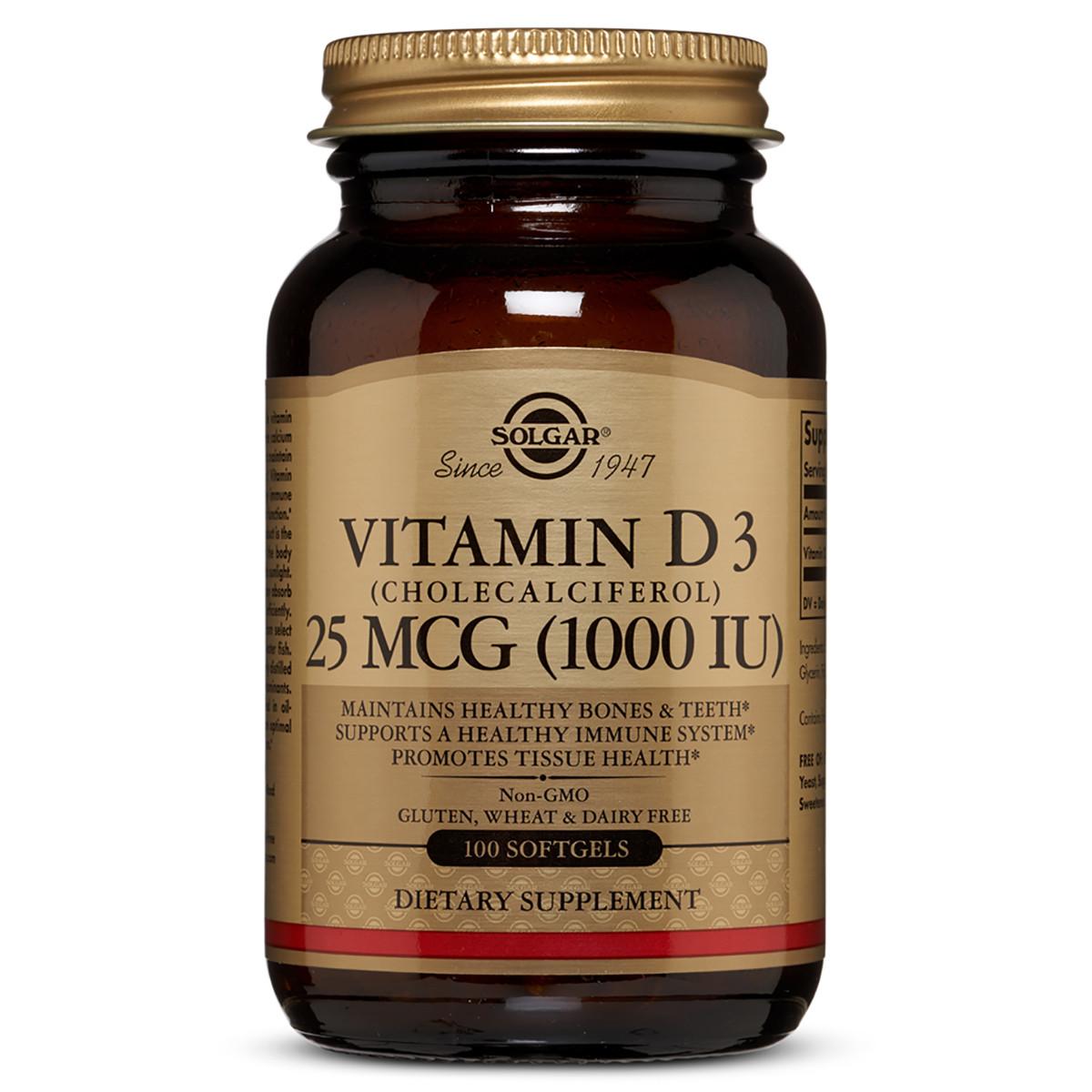 Витамин D3 Cholecalciferol Solgar 25 мкг 1000 МЕ 100 гелевых капсул