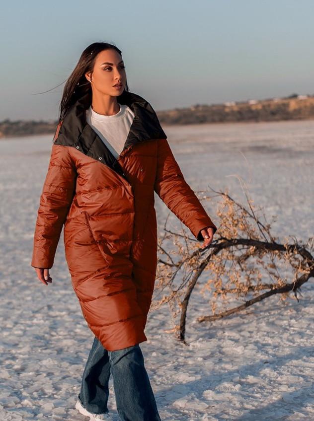 Модная женская удлиненная куртка с воротником под горло, больших размеров  XL,2XL,3XL,4XL.5XL