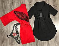 Модная домашняя одежда, комплект халат и платье-рубашка 043+014.