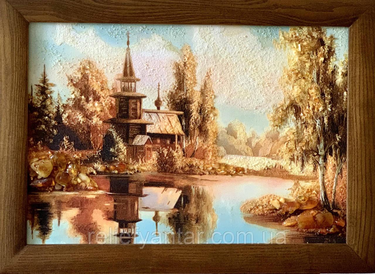 """Картина пейзаж из янтаря """" Церковь у реки  """" 20x30 см"""