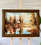 """Картина пейзаж из янтаря """" Церковь у реки  """" 20x30 см, фото 2"""