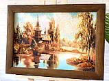 """Картина пейзаж из янтаря """" Церковь у реки  """" 20x30 см, фото 4"""