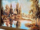 """Картина пейзаж из янтаря """" Церковь у реки  """" 20x30 см, фото 3"""