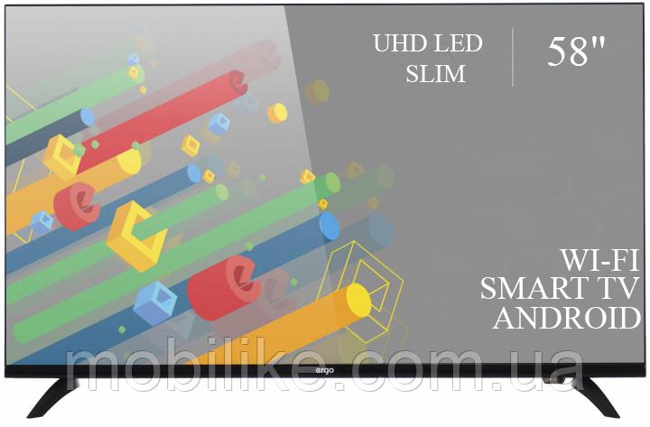 """Функциональный телевизор Ergo  58"""" Smart-TV/DVB-T2/USB (1920×1080) Android 7.0 4К/UHD"""