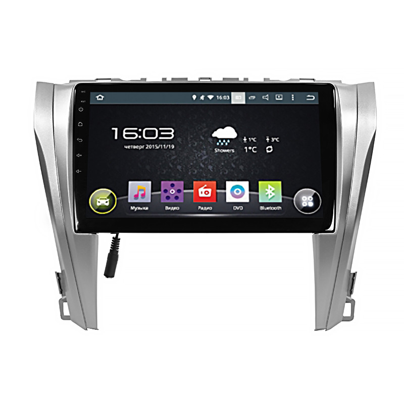 "Штатная автомобильная 10"" магнитола Lesko Toyota Camry V55 (2015-2017гг.) память 1/16 GPS Android"
