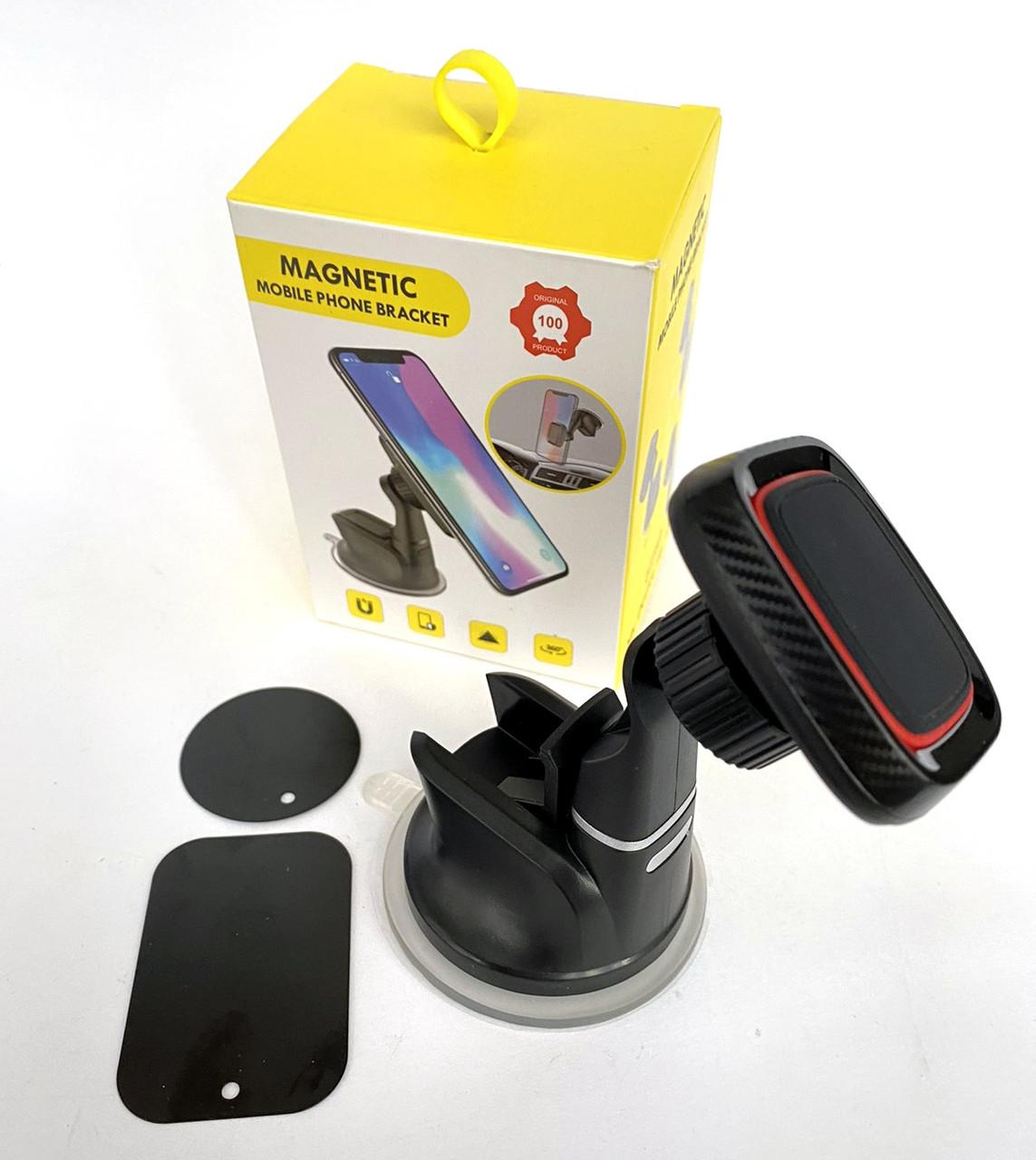Автодержатель для телефона магнитный CT301 на присоске Black-Carbon