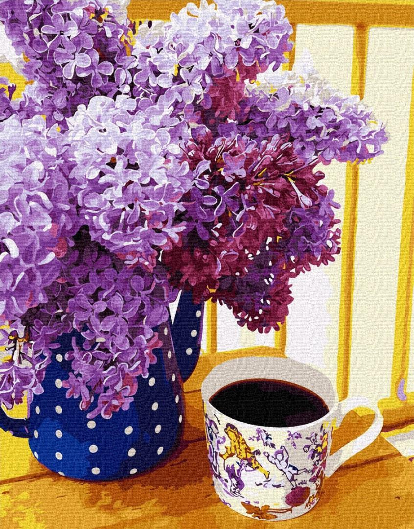 Картина по номерам BRUSHME Сиреневое кофепитие 40x50 см., Украина